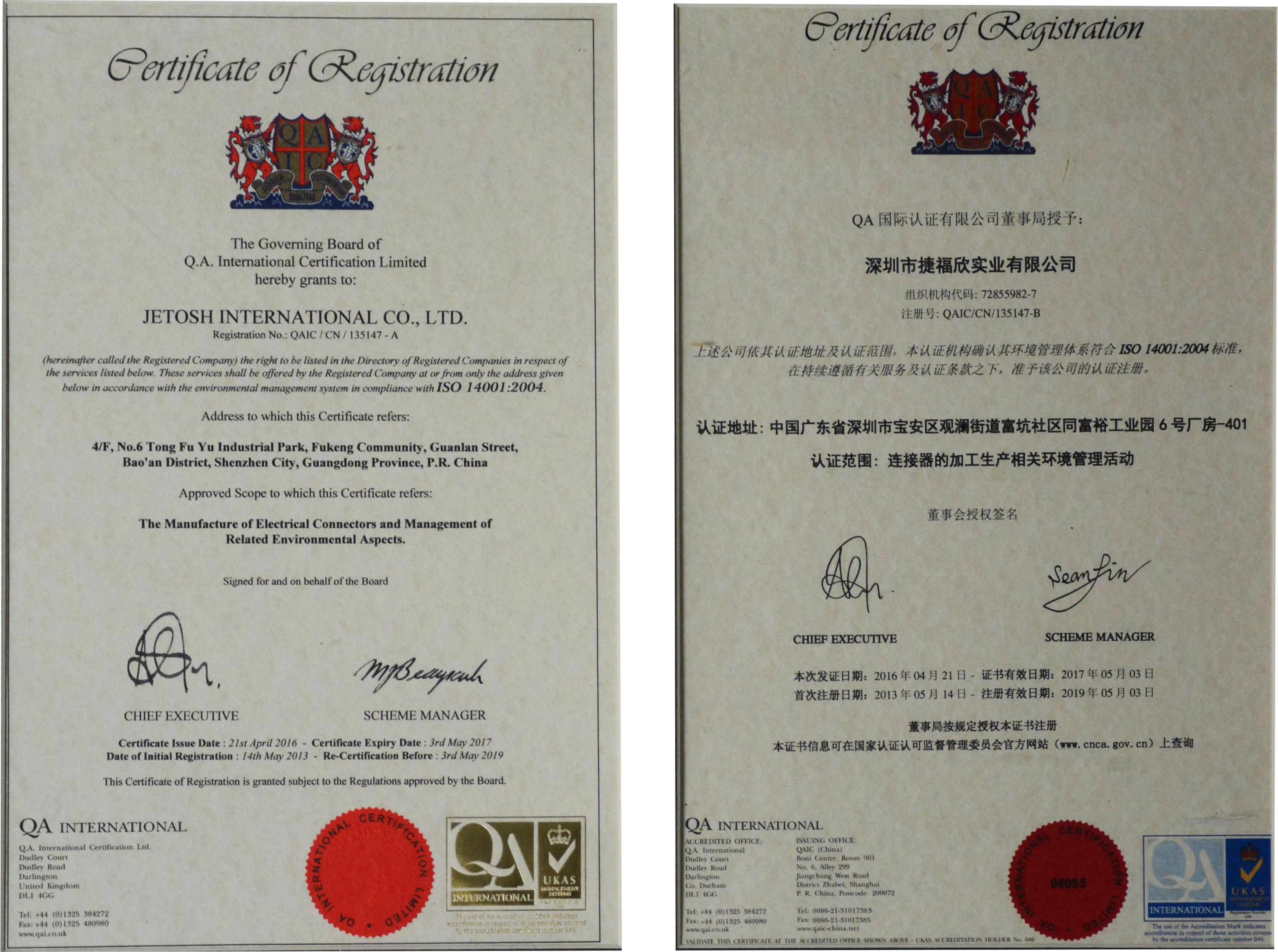 JETOSH Certificates: Learning Organization Award